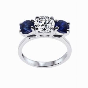Inverse Sapphire And Round Brilliant Cut Diamond Three Stone Ring - 1.20ct